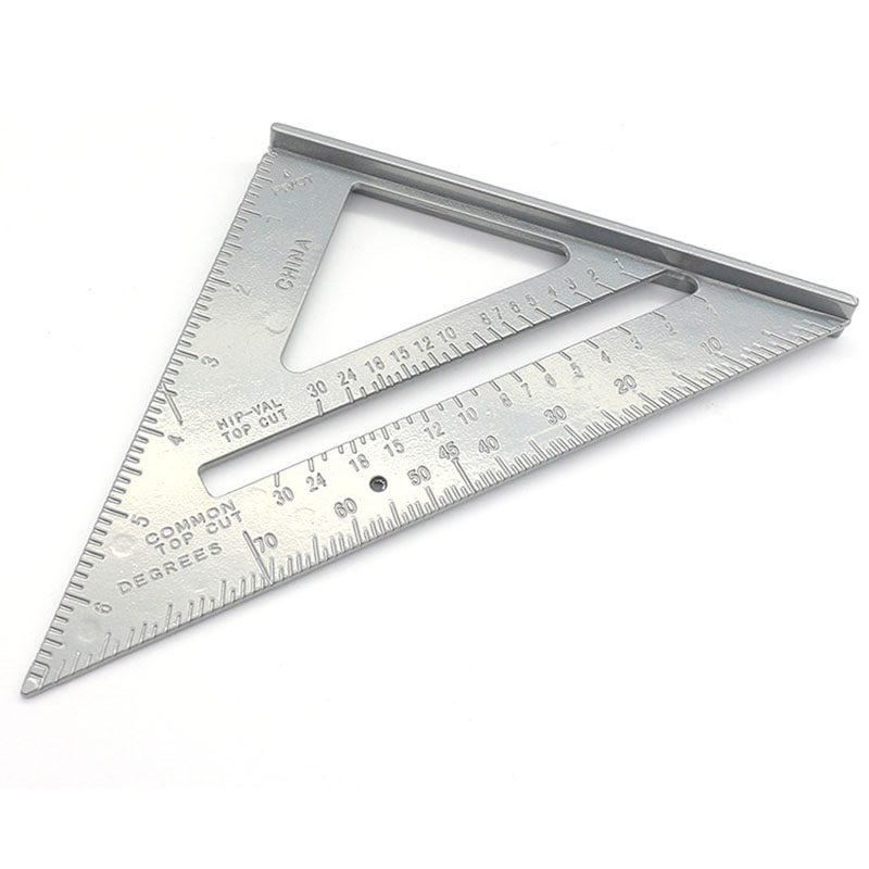7Inch Aluminum Alloy Right Angle Ruler Triangular Measuring Woodworking Tool GY88