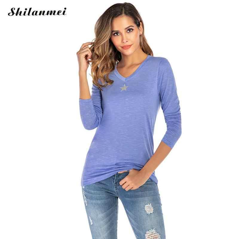 Sexy V Neck koszulka Plus rozmiar 2019 kobiet T koszula gwiazda drukuj jesień z długim rękawem panie mody na co dzień kobiet topy 3xl 4xl 5xl
