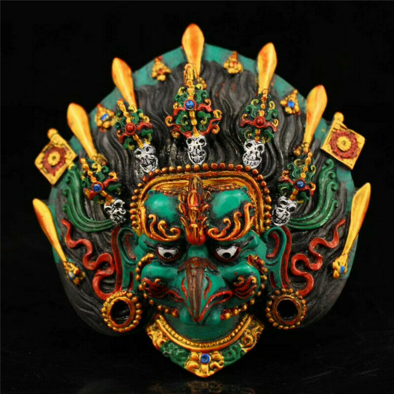 Collecti Nepal Resin Lacquerware Painted Eagle God Head Wall Hang Exorcism Masks
