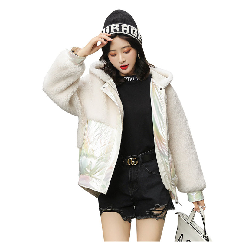 Зимняя короткая пуховая хлопковая одежда для женщин, новинка 2019, Корейская версия, верхняя одежда из овечьего меха с капюшоном, свободная те...