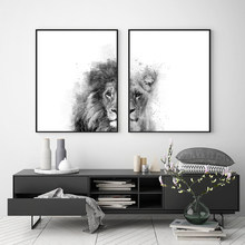 Lion and Lioness Animal Canvas Print Black White Abstract Watercolor Painting Poster Nursery Wall Art Pictures Living Room Decor