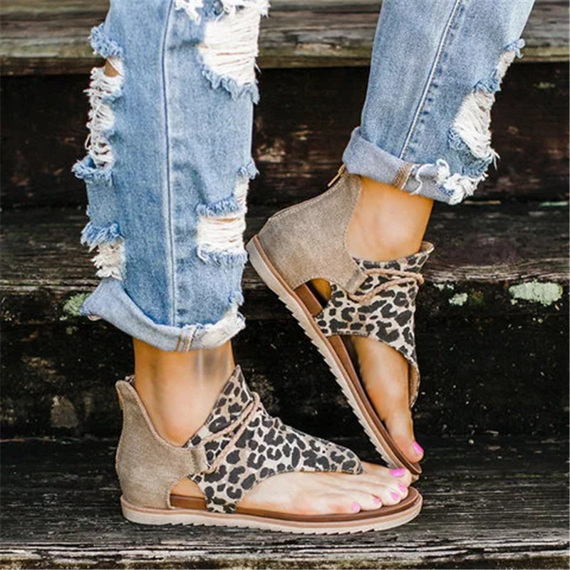 Rimocy Women Leopard Print Summer Sandals Plus Size Cross Strap Flat with Shoes Woman Casual Zipper Gladiator Sandalias Mujer