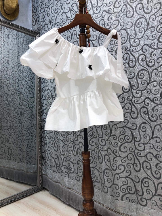 2021 new women fashion irregular slanted shoulders with ruffle stitching one-shoulder sling top 520