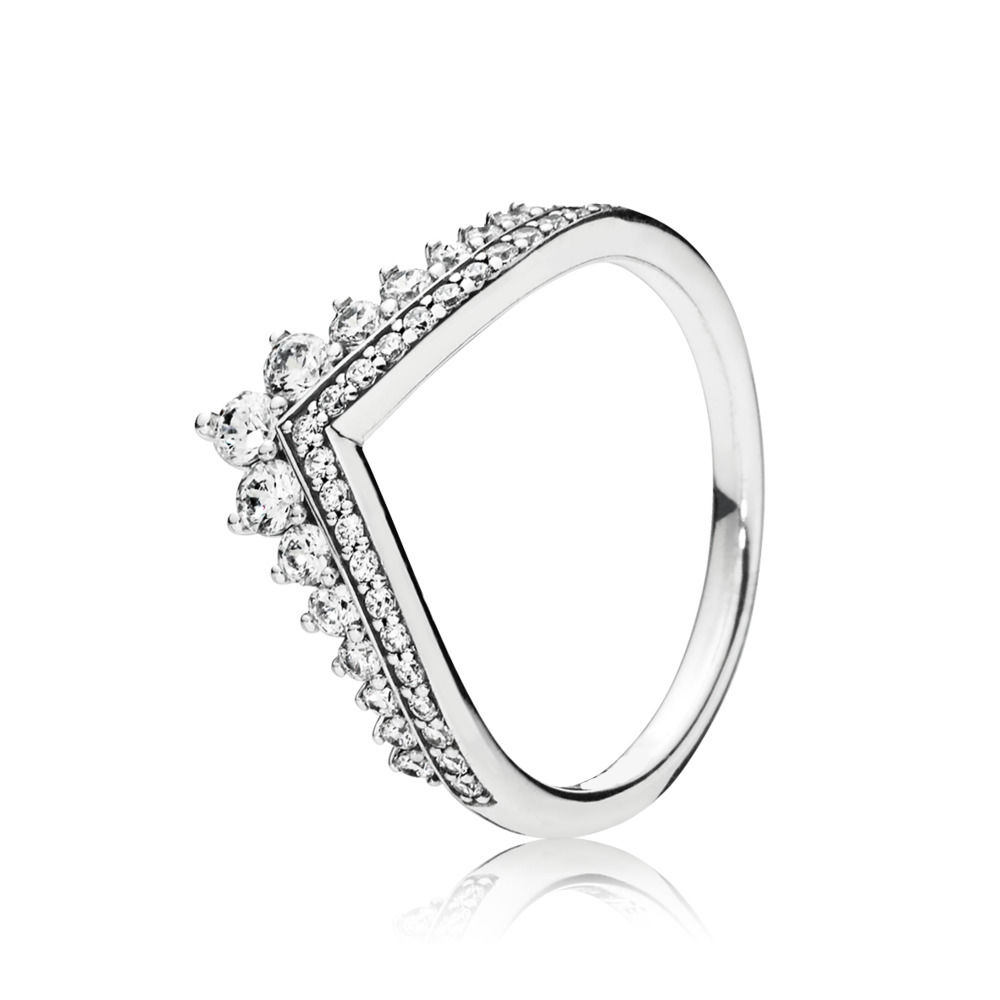 2019 NEW 100% 925 Sterling Silver RINCESS WISHBONE RING Original Women's Gift Holiday Jewelry Factory Direct Sales