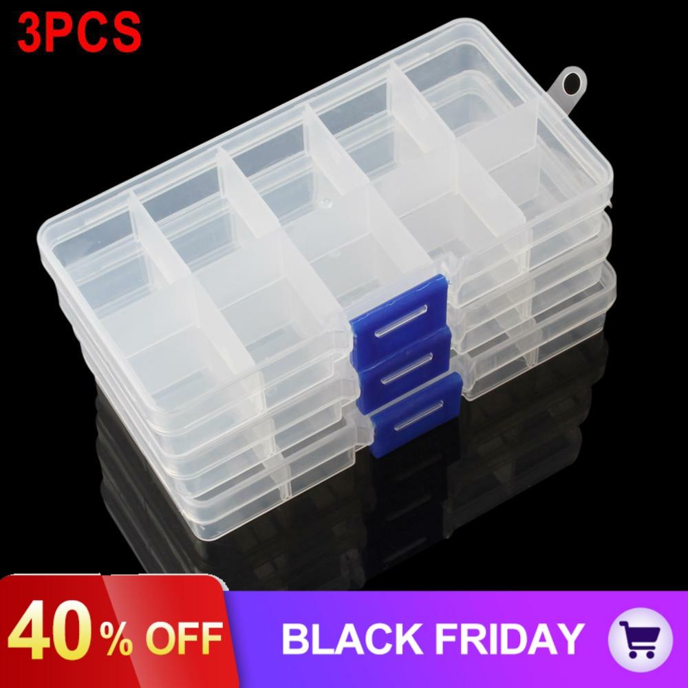 3pcs/lot 10 Compartment Small Organiser Plastic Storage Box Case for Craft Nail Fuse Beads