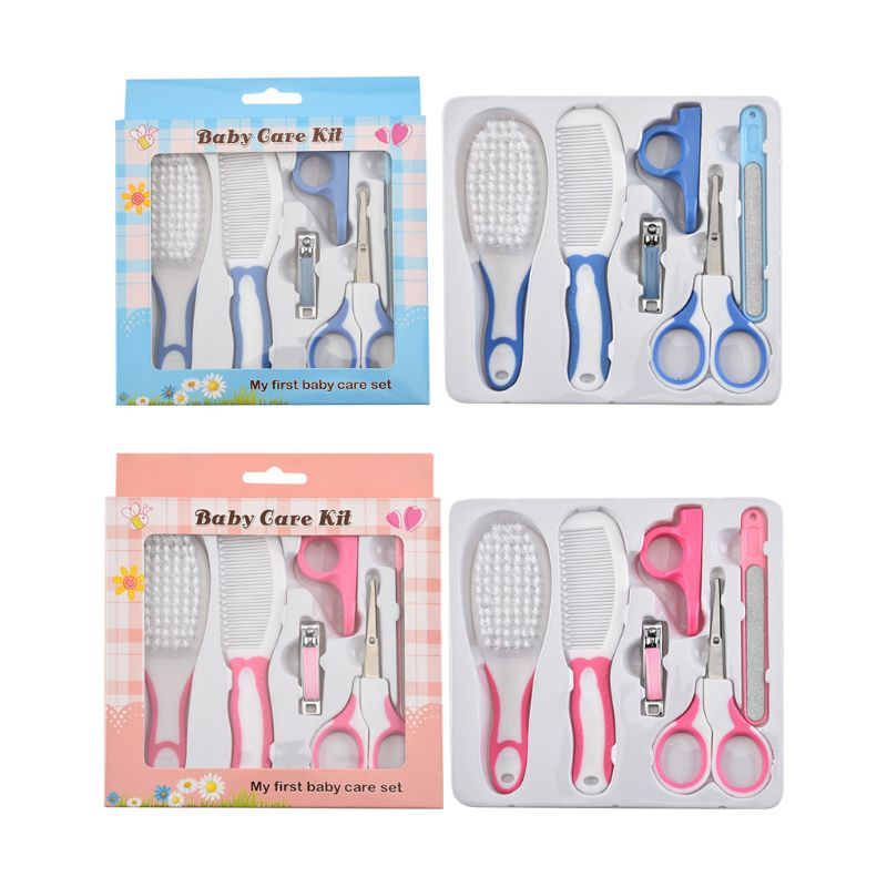 6 Pcs Baby Nail Hair Daily Care Kit Newborn Kids Grooming Brush and Manicure Set