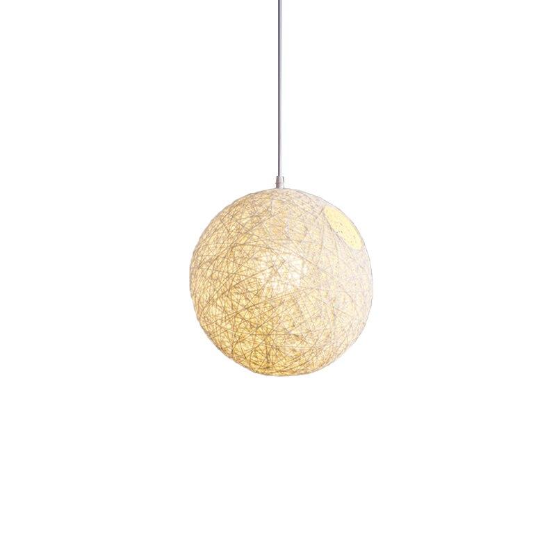 White Bamboo, Rattan And Hemp Ball Chandelier Individual Creativity Spherical Rattan Nest Lampshade