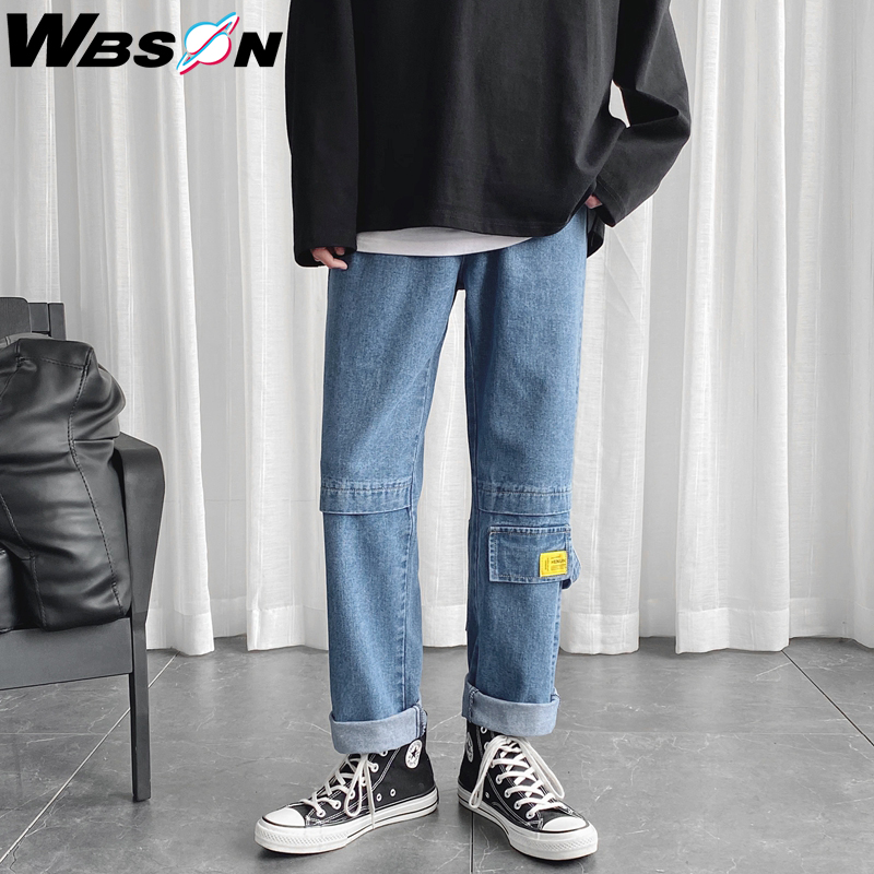Wbson Brand Spring New Jeans Men Casual Loose Straight Hong Kong Style Cargo Jeans Men Large Size M-5XL CS-NZ8610