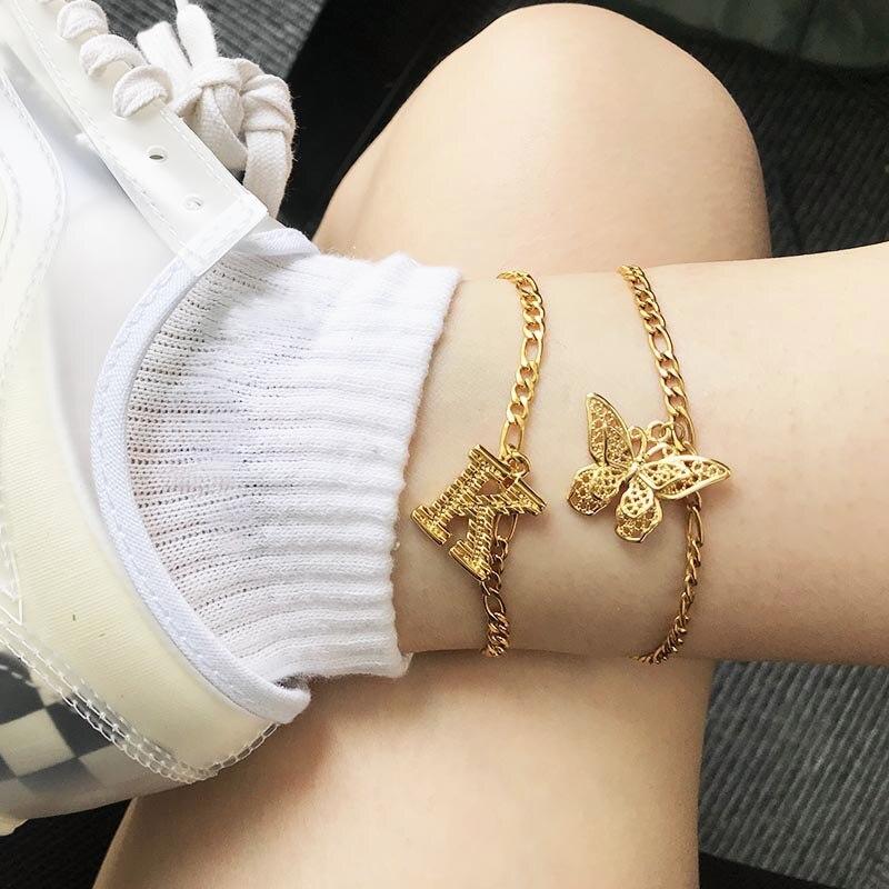 butterfly anklet bracelet For Women foot butterfly jewelry women bracelet Anklet stainless steel foot butterfly bracelet bff