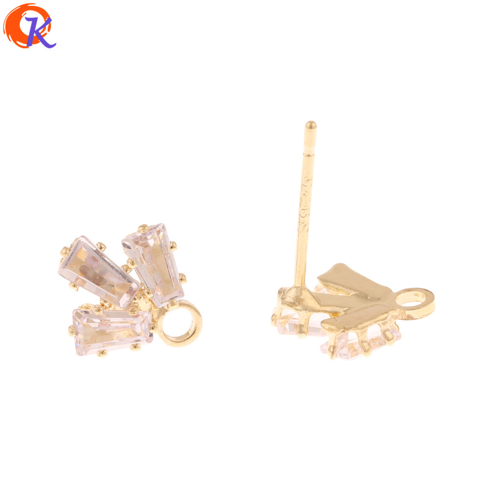 Cordial Design 100Pcs 10*11MM Rhinestone Earrings Stud/Jewelry Accessories/Trapezoid Shape/Claw/Hand Made/DIY Earrings Making