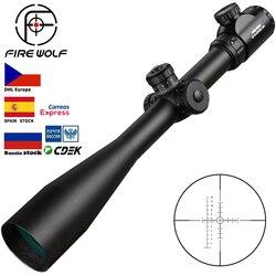10-40x50 E Riflescope de largo alcance rueda lateral Parallax mira óptica Rifle Alcance de caza Scope francotirador Luneta Para Rifle