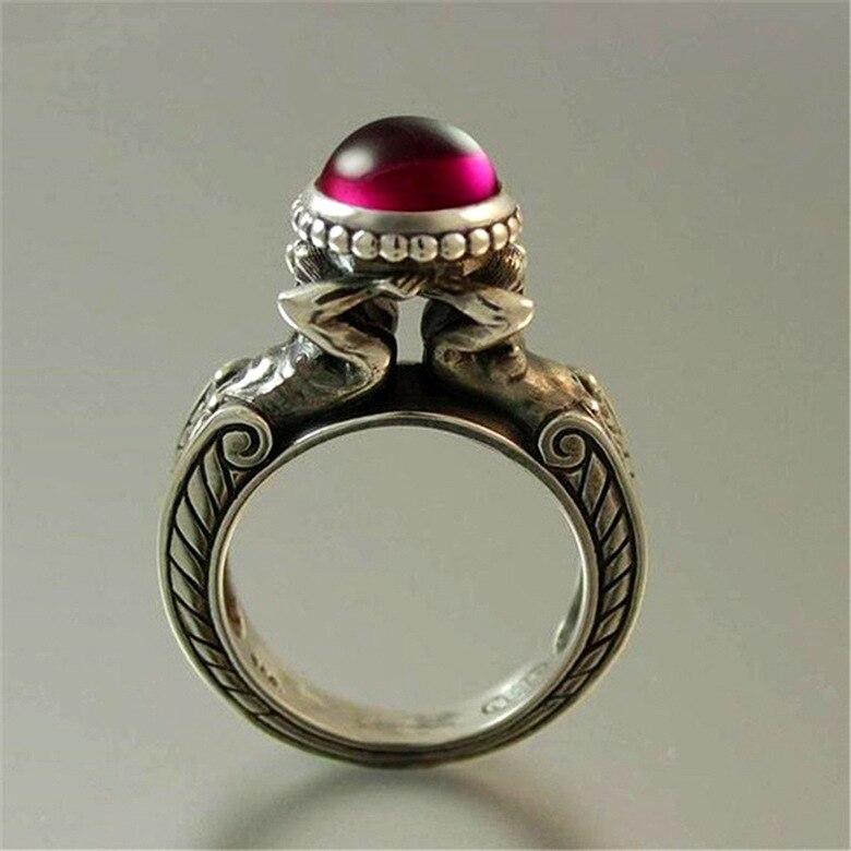 Timbre 925 argent diamant rubis bague pour femmes et hommes topaze rouge rubis Cirle Anillos Bizuteria mariage pierre précieuse argent 925 bijoux - 4