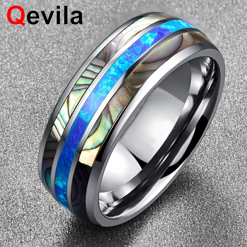 Qevila New Fashion Rings Jewelry Simple Tungsten Carbide Shell Men Ring Casual Blue Fire Silver Ring For Men Party Dropshipping
