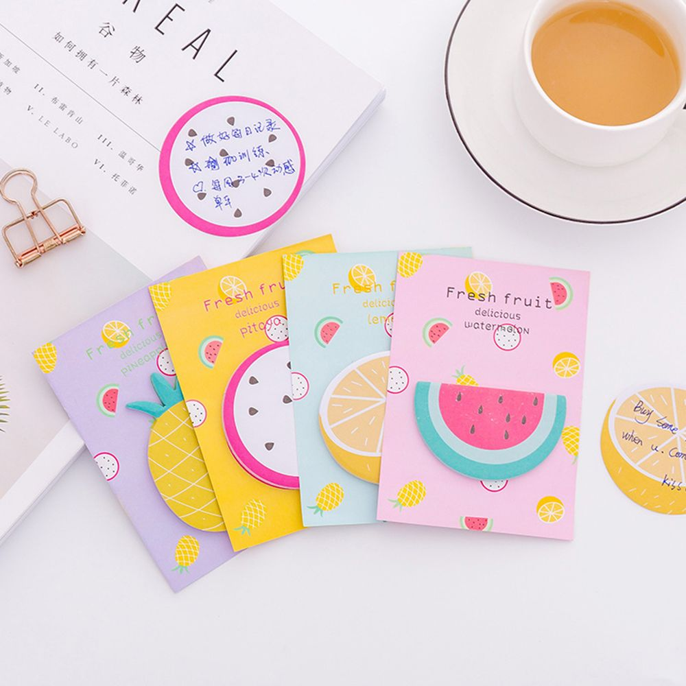 Creative Mini Refreshing Fruit Weekly Plan Sticky Notes Memo Pad Kawaii Stationery School Supplies Planner Paper Stickers NEW