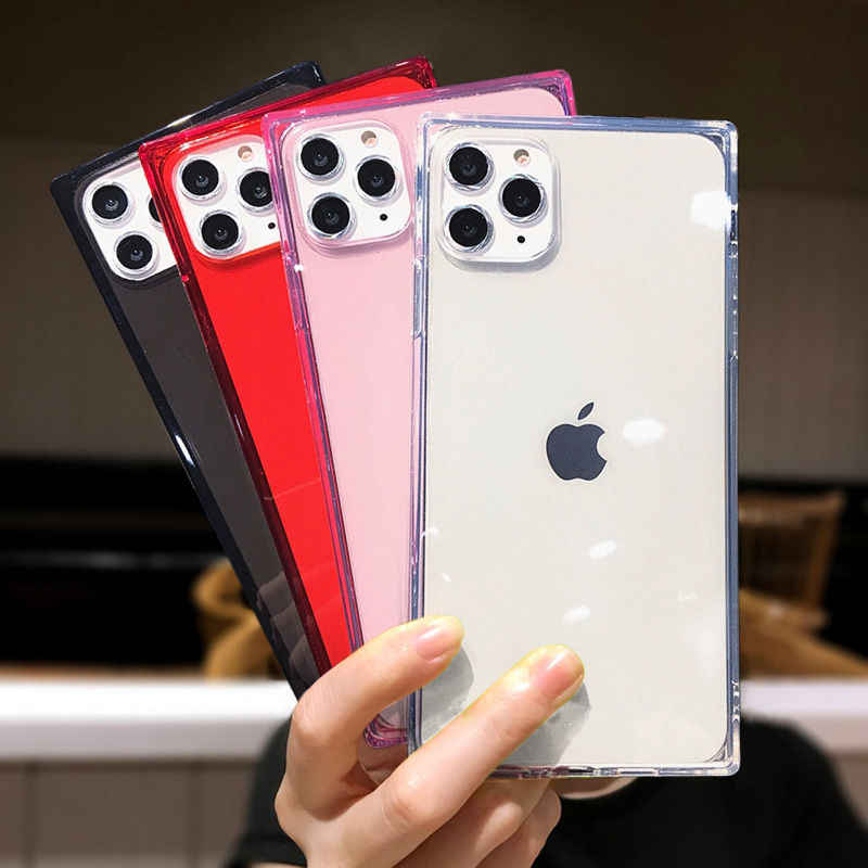 Square Clear Phone Case for iPhone 11 Pro Max XS Max XR 6 6S 7 8 Plus X Silicone Soft Transparent Back Cover,for iPhone 8 Plus,Transparent White