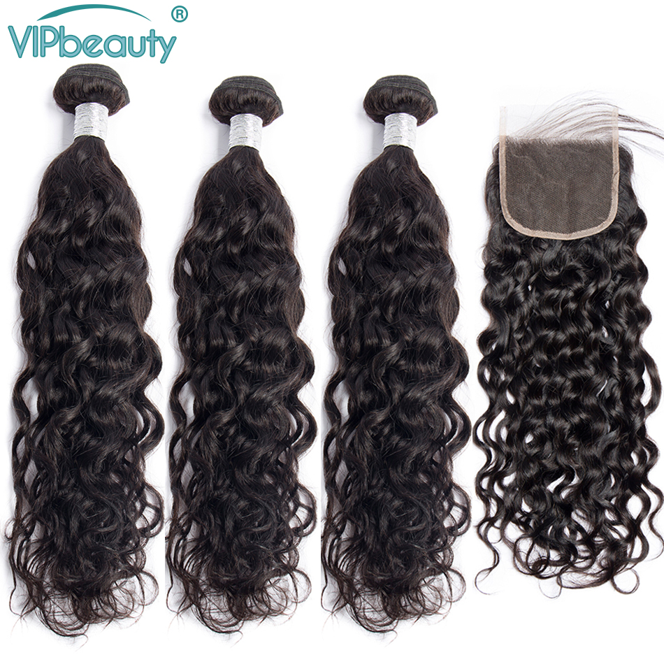 VipBeauty Water Wave Bundles with Closure Natural Color Remy Brazilian Hair Weave Bundles With Closure 100% Human Hair-in 3/4 Bundles with Closure from Hair Extensions & Wigs    1