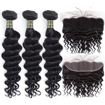 Uneed Hair Brazilian Loose Deep Wave Bundles With Frontal Closure 100% Remy Human Hair Weave 3 or 4 Bundles With Frontal Closure - DISCOUNT ITEM  44% OFF All Category