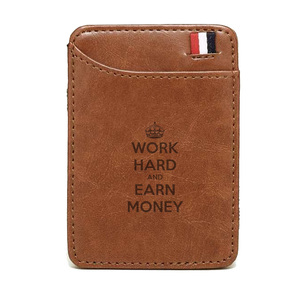 2019 New Work Hard And Earn Money Slim Leather Men Wallet Magic Brand Designer Men Wallet Card Holder Bifold Clamps for Money(China)