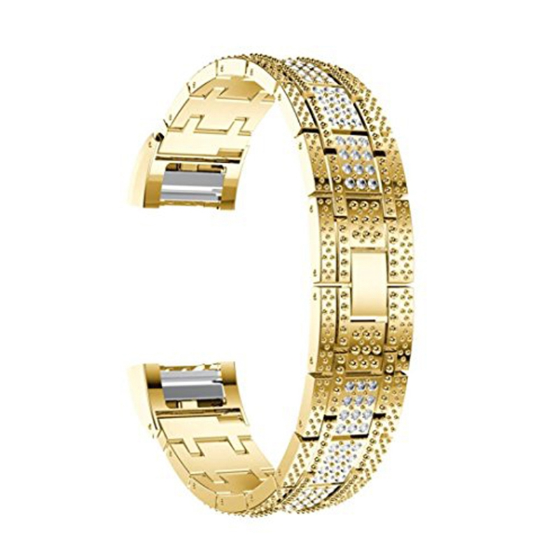 Alloy Crystal Watch Band Wrist Strap with Metal Frame for Fitbit Charge 2 Gold