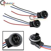 2x 3157 4157NA Bulb 3 tabs Socket Turn Signal Light Harness Wire Plug Connectors