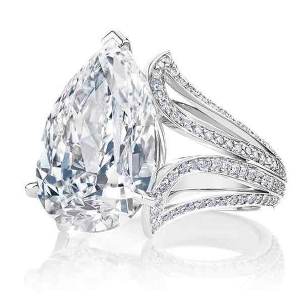 גדול כחול אגס מעוקב זירקון אבן טבעות לנשים אופנה אירוסין מסיבת יום האהבה תכשיטי מתנה
