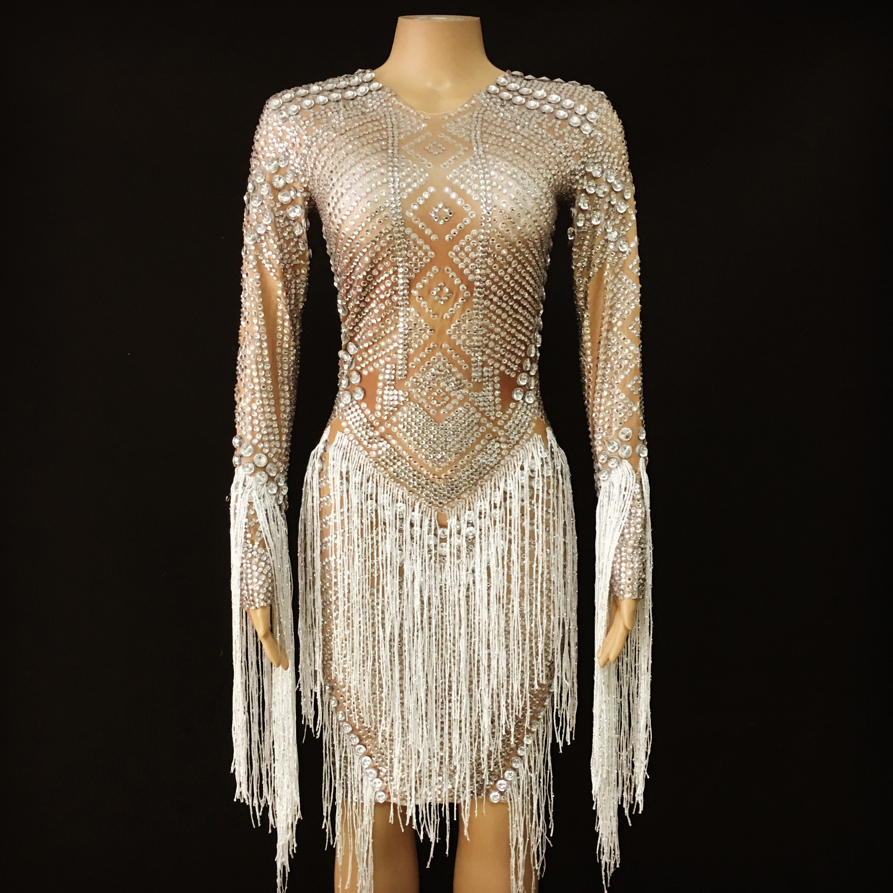 Dress Outfit Dancer Stones Celebrate Tassel Sparkly Strech Birthday Silver Evening White title=