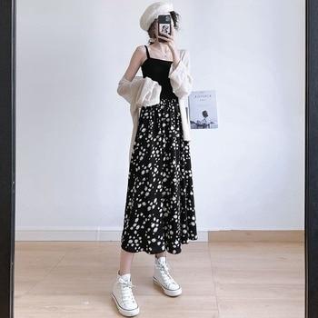 Vintage Floral Print Ruffle Pleated Long Skirts summer Women Korean High waist Streetwear Drawstring Elastic Waist Midi Skirt ruffle trim asymmetric floral skirt