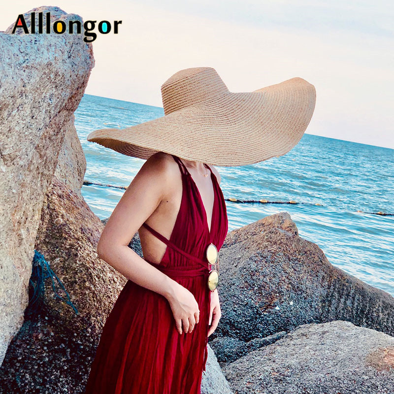 25CM Wide Brim Straw Hat Women Beach Hats Oversized Fashion Ladies Summer New 2021 UV Protection Foldable Sun Shade Cap Sunhat
