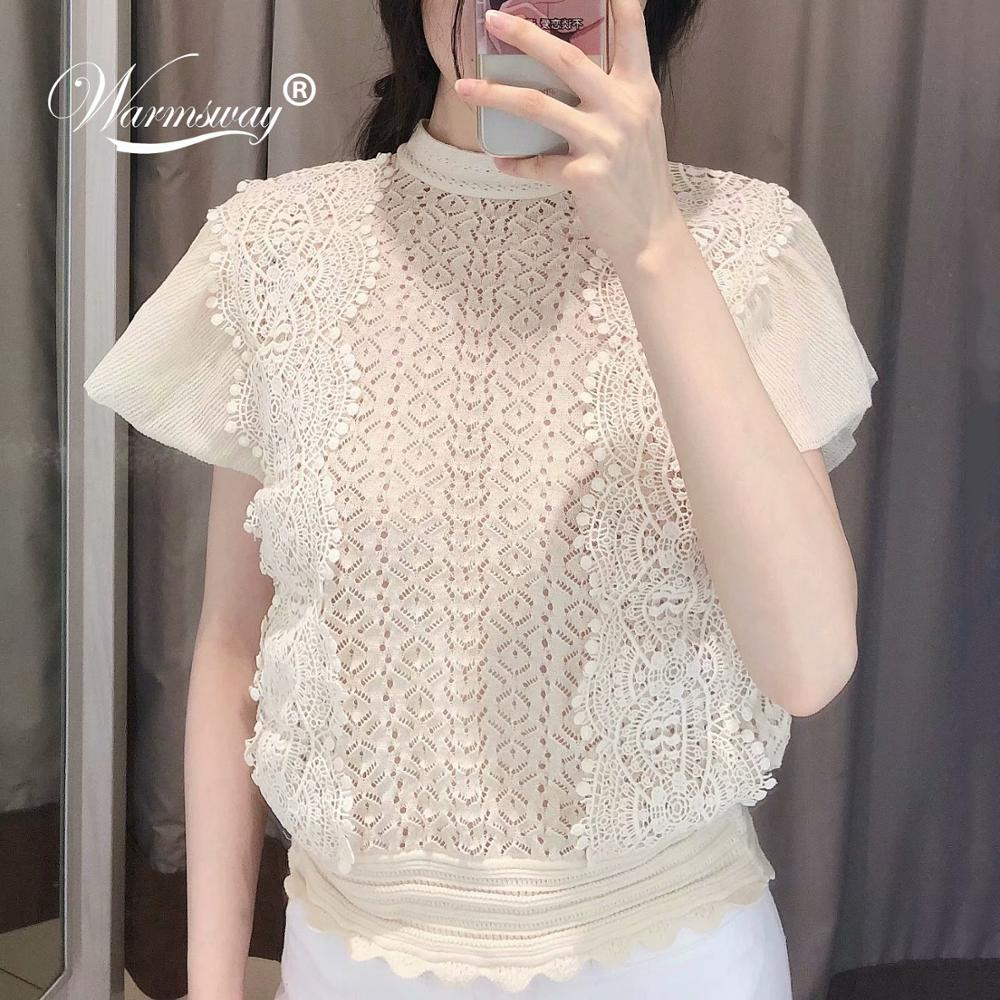 High Quality Women Sweet Viscose Knit Top Sexy Transparent Blouse Female Hollow Out Short Stylish Shirts Lace Blusas  B-006