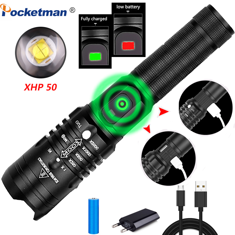 8000LM Flashlight Led Torch Xhp50.2 Rechargeable Waterproof Lanterna Power By 1*18650 Battery For Camping Hunting With USB Cable