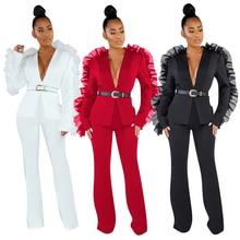 GL, женский зимний комплект, спортивный костюм, длинный рукав, сетка, пэтчворк, блейзеры, брюки, костюм из двух частей, комплект для офиса, леди, наряд, Униформа, 621