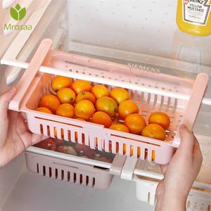 Adjustable Kitchen Refrigerator Storage Rack Fridge Freezer Shelf Holder Pull-out Drawer Organiser Space Saver Kitchen Organizer