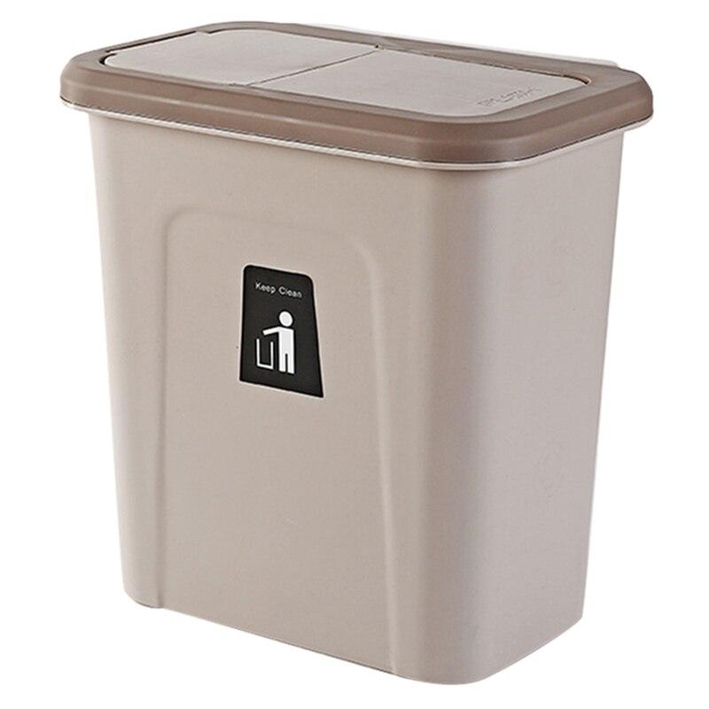 Ev ve Bahçe'ten Atık Kovaları'de Mutfak itme kapağı çöp tenekesi asılı meyve ve sebze cilt mutfak çöp depolama kova basit saklama kutusu kahverengi title=
