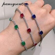 PANSYSEN-Bracelet en argent Sterling 925 pour femmes, bijouterie, luxe, bijoux émeraude, rubis et diamants, tendance, Bracelets porte-bonheur