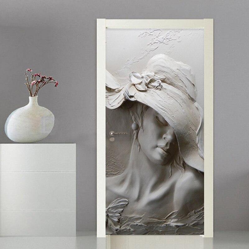 Photo Wallpaper 3D Stereo Figure Statue Door Sticker Living Room Bedroom Creative DIY Home Decor Sticker PVC Self-Adhesive Decal