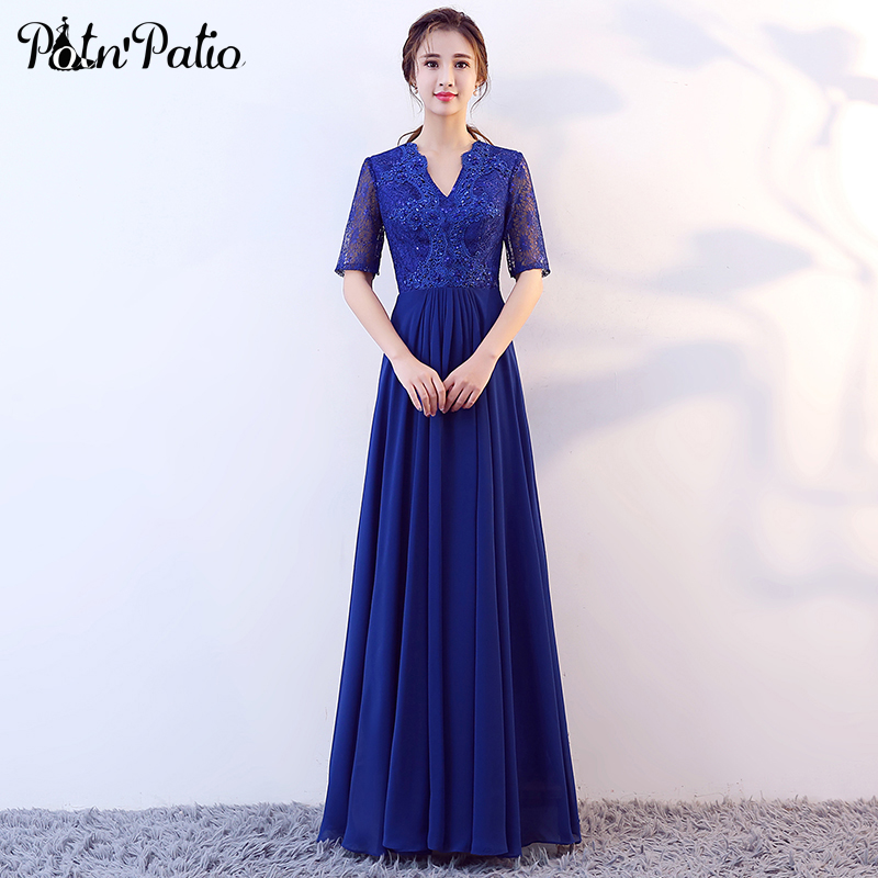 Royal Blue Long   Evening     Dresses   2019 Beading Lace Plus Size Mother Of The Bride   Dresses   Floor-length Chiffon   Evening   Gowns