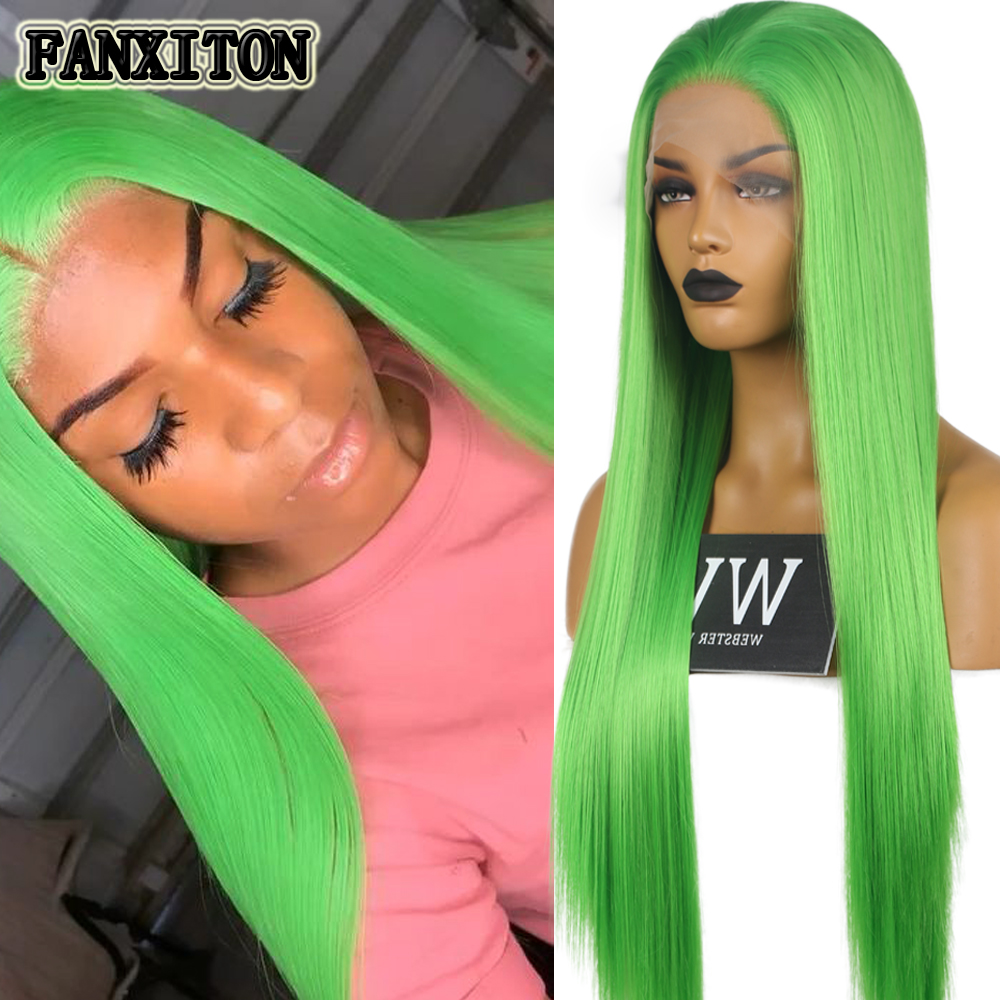 Imeya Long Silky Straight Lace Front Wigs Heat Resistant Half Hand Tied Synthetic Green Hair Cosplay Wigs For Women