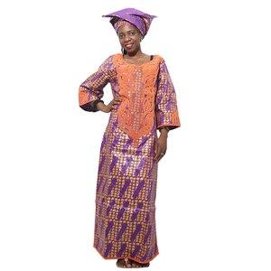 Image 5 - MD فساتين للنساء السيدات dashiki الشمع اللباس مع headtie الأفريقية بازان الثراء التقليدية الملابس الإناث 2019 رداء africaine