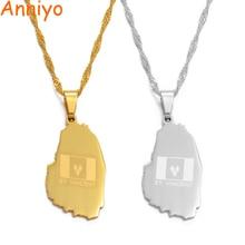 Anniyo Gold Color ST. Vincent Map Pendant and Thin Chain Necklaces Saint Vincent Maps Jewelry Gifts #020721 st vincent st vincent s t lp