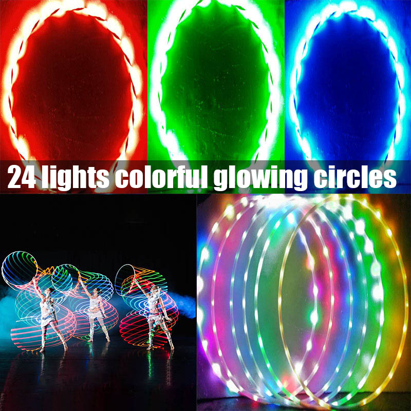 LED Sports Hoop Flashing Light Toy For Kids Adults Color Changing LED Exercise Hoop YA88