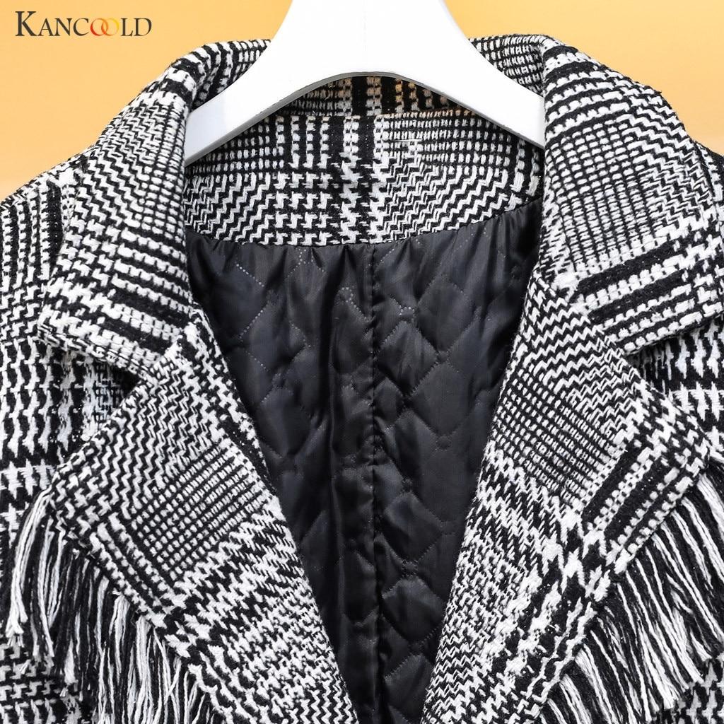 KANCOOLD пальто, зимняя клетчатая теплая куртка с кисточками, шерстяная ветровка с отворотом, уличная мода, Новое Женское пальто 2019NOV25