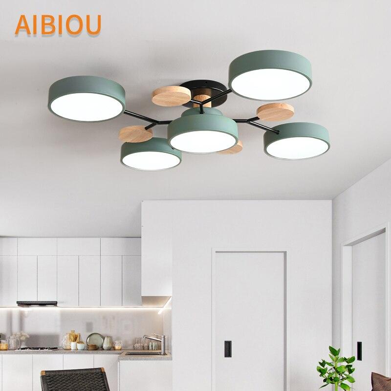 AIBIOU современный 220 В светодиодный потолочный светильник с круглыми металлическими абажурами для гостиной, скандинавские деревянные потолочные светильники для спальни - 2
