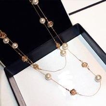 Collar de perla de doble capa de flor rosa perla de alta calidad collar de moda collar largo de Camelia joyería de fiesta