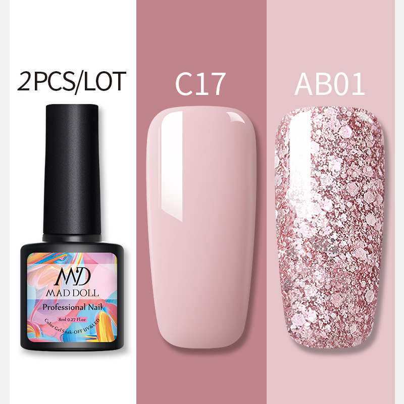 MAD DOLL 2Pcs/set  Glitter Nail Gel Polish Set Pink Red  Semi Permanent Led Nail Varnish Set Sequins UV Gel Nail Polish