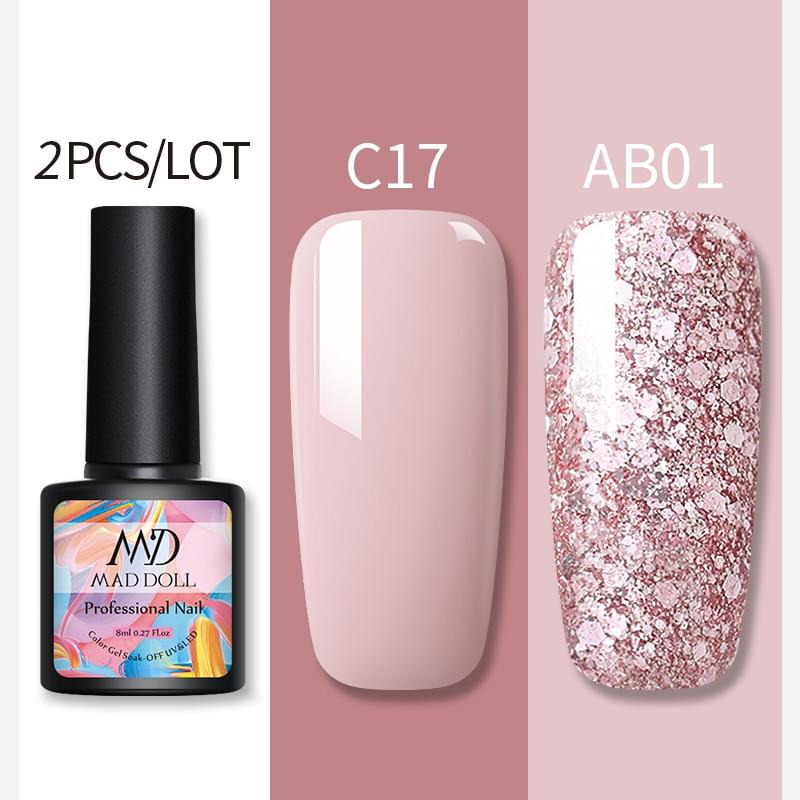MAD DOLL 2Pcs/set  Glitter Nail Gel Polish Set Pink Red  Semi Permanent Led Nail Varnish Set Sequins UV Gel Nail Polish