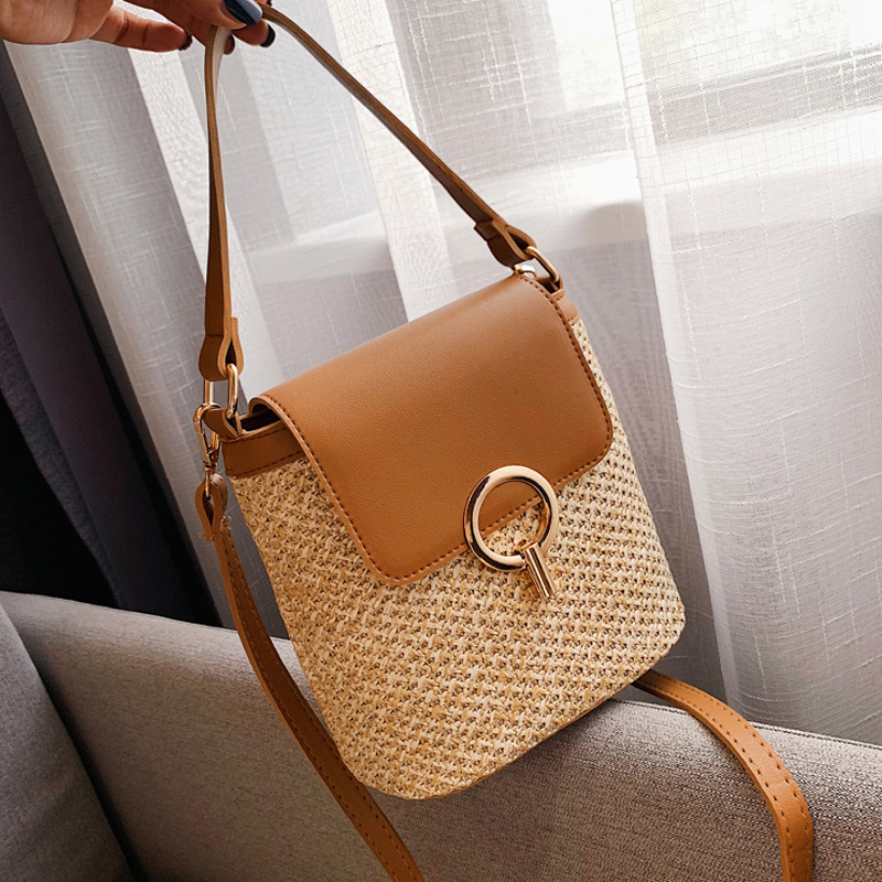 Casual Rattan Buckets Bag Wicker Woven Women Handbag Travel Straw Bags Lady Shoulder Crossbody Bag Summer Beach Small Purse 2020