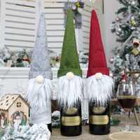 Decoración navideña para vestido de botella de champán, muñeco sin rostro, colgante de decoración de Navidad fiesta en casa
