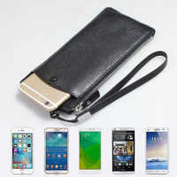 """CKHB-25D Genuine leather phone bag For iphone X 6s 7 8 Plus 8Plus XS Max wallet purse style Universal 1.0""""~6"""" cases"""