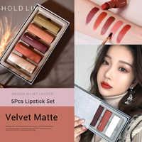 Brand HOLDLIVE 5Pcs Velvet Matte Lipstick Set Waterproof Long Lasting Easy to Wear Red Lips Makeup For Girls Nude Cosmetics Kits