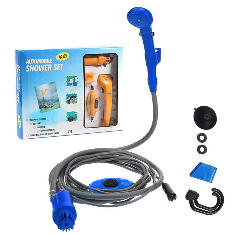 Extaum Portatile,Accendisigari portatili 12V Tipo di doccia Doccia esterna//interna ricaricabile Pompa soffione ricaricabile per campeggio Campeggio Lagio auto Piscina